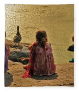Children At The Pond 4 Fleece Blanket