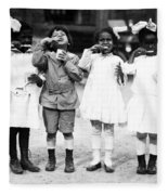 Children Brushing Teeth Fleece Blanket