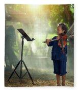 Children In Folk Costumes Playing Violin In Thailand Fleece Blanket
