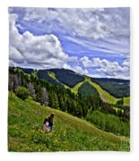 Children On Vail Mountain Fleece Blanket