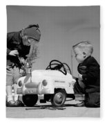Children Play At Repairing Toy Car Fleece Blanket