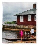 Children Playing At Harbor Essex Ct Fleece Blanket