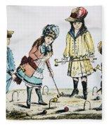 Children Playing Croquet Fleece Blanket