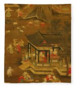 Children Playing In The Palace Garden Fleece Blanket