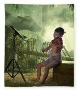 Children Playing Violin In The Folk Style. Fleece Blanket