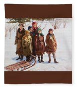 Children With A Sled Nikolai Petrovich Bogdanov-belsky Fleece Blanket
