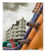 Childrens Play Areas Contrast With The Victorian Elegance Of The Grand Hotel In Llandudno Wales Uk Fleece Blanket