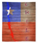 Chile Rustic Map On Wood Fleece Blanket