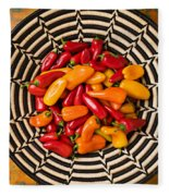 Chili Peppers In Basket  Fleece Blanket