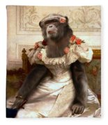 Chimp In Gown  Fleece Blanket