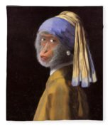 Chimp With A Pearl Earring Fleece Blanket