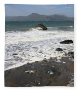 China Beach With Outgoing Wave Fleece Blanket