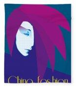 China Girl Blue Fleece Blanket