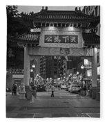 Chinatown Gate Boston Ma Black And White Fleece Blanket