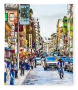 Chinatown In New York City 2 Fleece Blanket