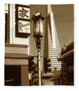 San Francisco Chinatown And Pyramid Fleece Blanket