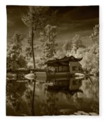 Chinese Botanical Garden In California With Koi Fish In Sepia Tone Fleece Blanket