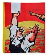 Chinese Communist Party Workers Proletariat Propaganda Poster Fleece Blanket