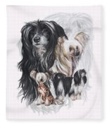Chinese Crested And Powderpuff W/ghost Fleece Blanket