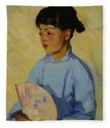 Chinese Girl With Fan 1914  Fleece Blanket