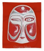 Chinese Porcelain Mask Red Fleece Blanket