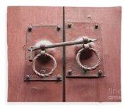 Chinese Red Door With Lock Fleece Blanket