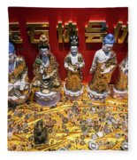 Chinese Religious Trinkets And Statues On Display In Xiamen Chin Fleece Blanket