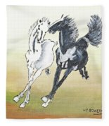 Chinese Running Horses Fleece Blanket