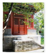 Chinese Temple Garden Fleece Blanket