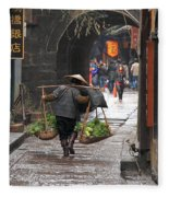 Chinese Woman Carrying Vegetables Fleece Blanket