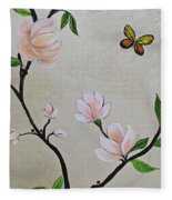 Chinoiserie - Magnolias And Birds #3 Fleece Blanket