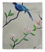 Chinoiserie - Magnolias And Birds #4 Fleece Blanket