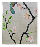 Chinoiserie - Magnolias And Birds #5 Fleece Blanket
