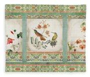 Triptych - Chinoiserie Vintage Hummingbirds N Flowers Fleece Blanket