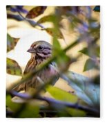 Chipping Sparrow In The Brush Fleece Blanket
