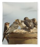 Chirping Swallows Fleece Blanket