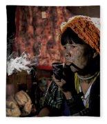 Cho Chin Woman Smoking  Fleece Blanket