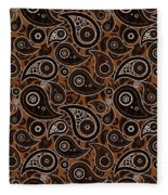 Chocolate Brown Paisley Design Fleece Blanket
