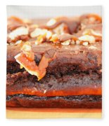 Chocolate Brownie With Nuts Dessert Fleece Blanket