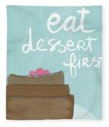 Chocolate Cake Dessert First- Art By Linda Woods Fleece Blanket