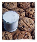 Chocolate Chip Cookies And Glass Of Milk Fleece Blanket