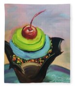 Chocolate Cupcake With Cherry Fleece Blanket