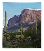 Cholla  Saguaro Superstition Mountain Fleece Blanket