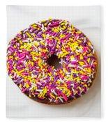 Cholocate Donut With Sprinkles Fleece Blanket