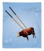 Chopsticks Cow Blue Stars Fleece Blanket