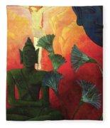 Christ And Buddha Fleece Blanket