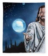 Christ At Night Fleece Blanket