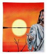 Christ At Sunrise Fleece Blanket
