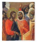 Christ Before Caiaphas Fragment 1311 Fleece Blanket