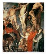 Christ Between The Two Thieves Fleece Blanket